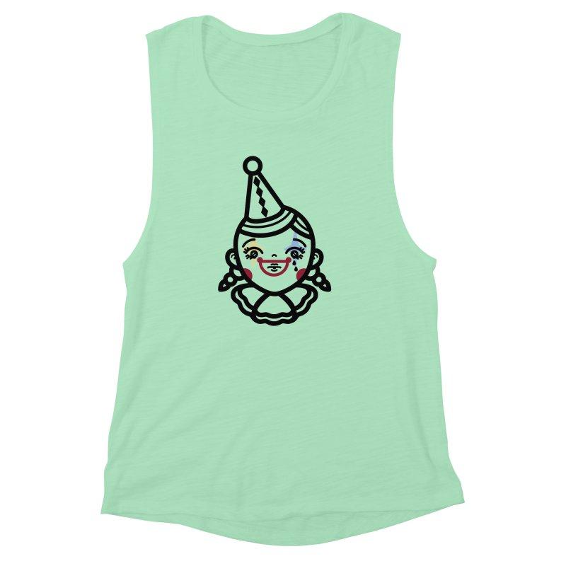 don't cry little clown girl Women's Muscle Tank by 3lw's Artist Shop