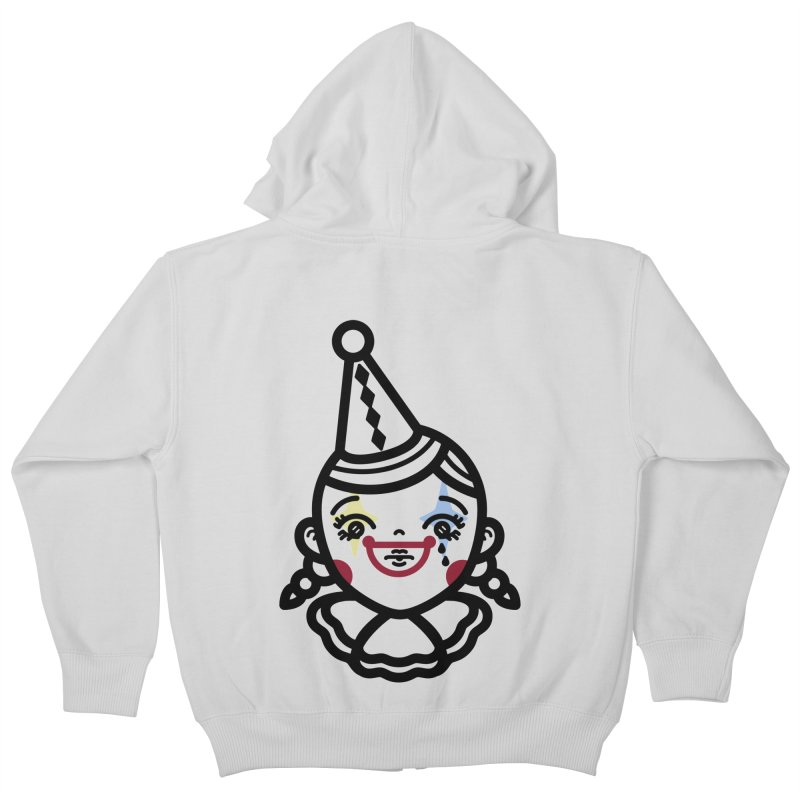 don't cry little clown girl Kids Zip-Up Hoody by 3lw's Artist Shop
