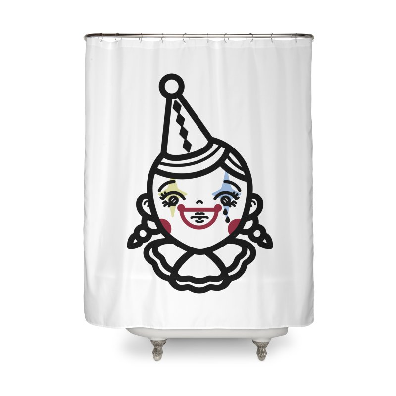 don't cry little clown girl Home Shower Curtain by Cristóbal Urrea