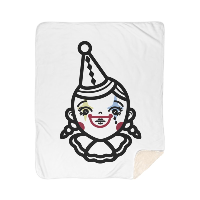 don't cry little clown girl Home Sherpa Blanket Blanket by Cristóbal Urrea