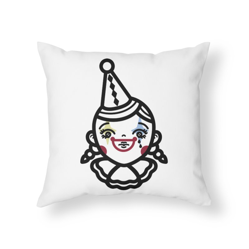 don't cry little clown girl Home Throw Pillow by Cristóbal Urrea