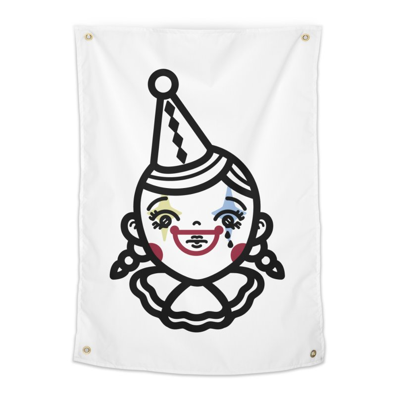 don't cry little clown girl Home Tapestry by Cristóbal Urrea