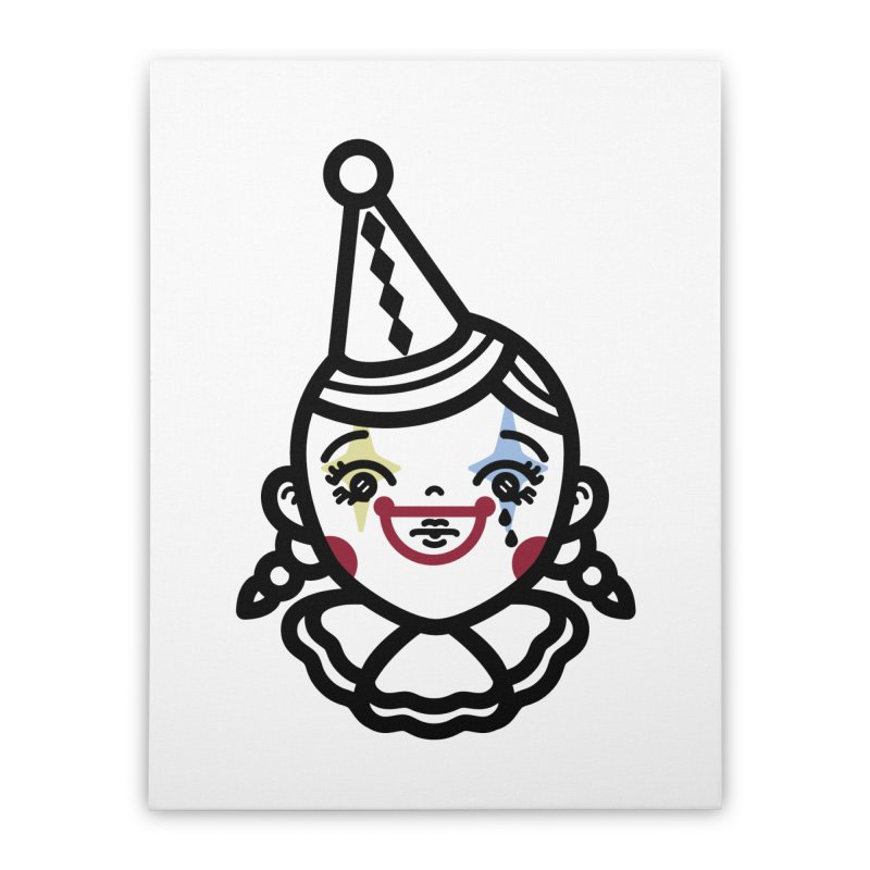 don't cry little clown girl Home Stretched Canvas by Cristóbal Urrea