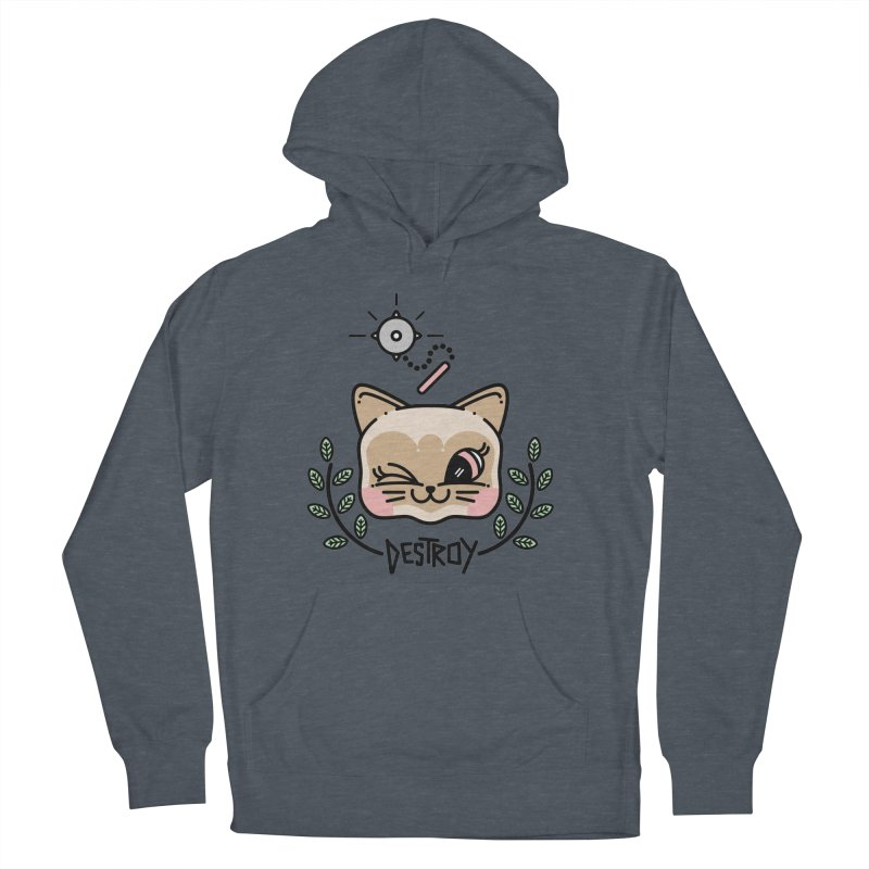 destroy kitty Women's French Terry Pullover Hoody by Cristóbal Urrea