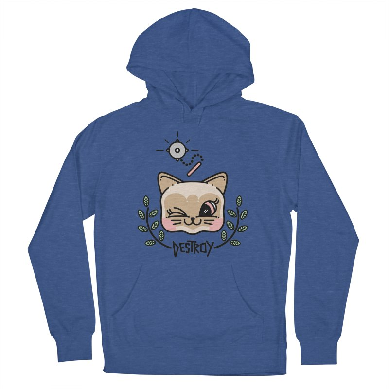 destroy kitty Men's French Terry Pullover Hoody by Cristóbal Urrea