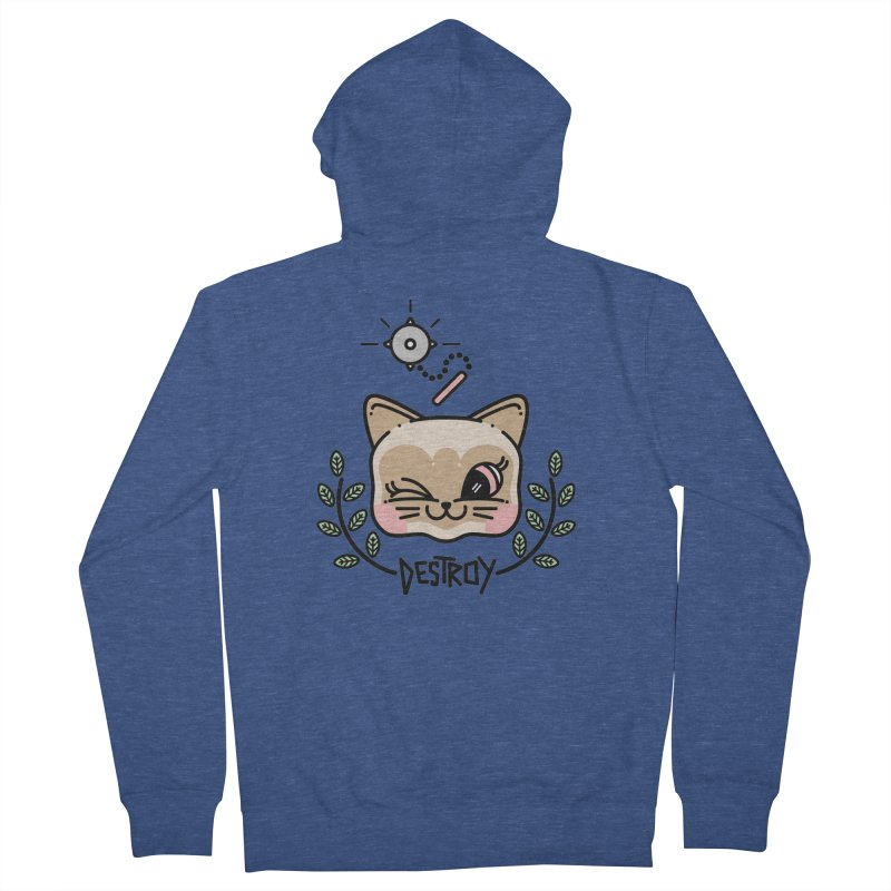 destroy kitty Women's French Terry Zip-Up Hoody by 3lw's Artist Shop
