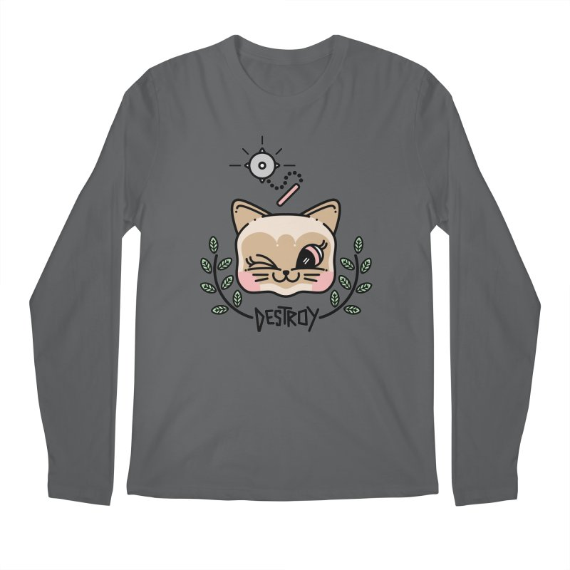 destroy kitty Men's Regular Longsleeve T-Shirt by Cristóbal Urrea