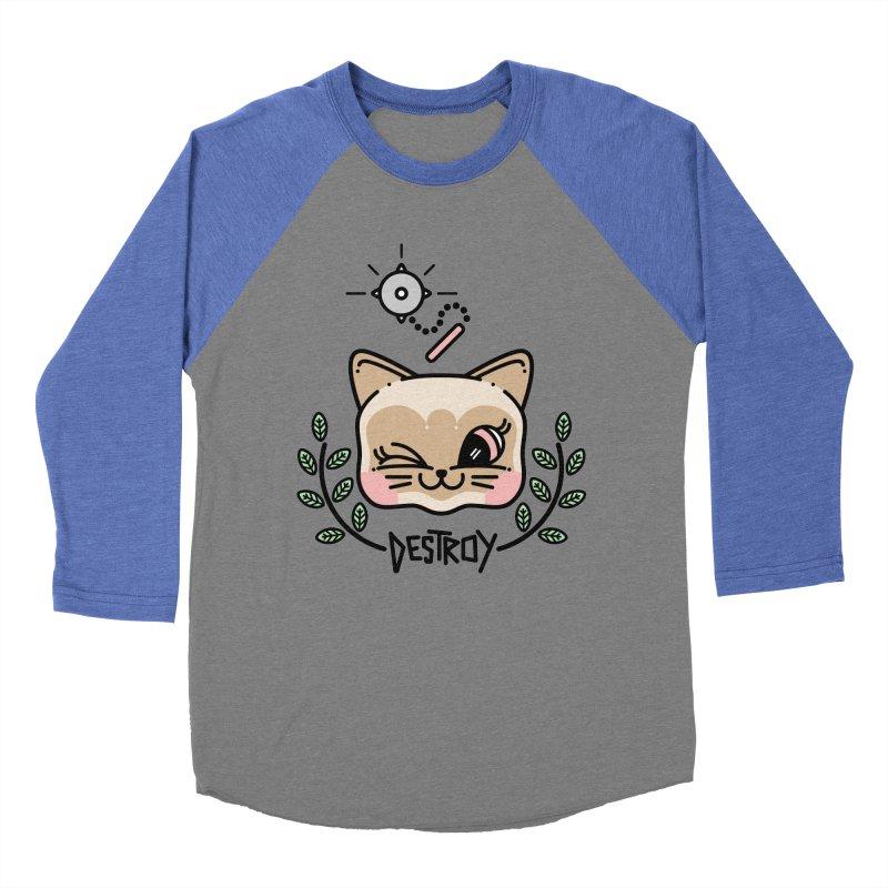 destroy kitty Women's Baseball Triblend Longsleeve T-Shirt by 3lw's Artist Shop