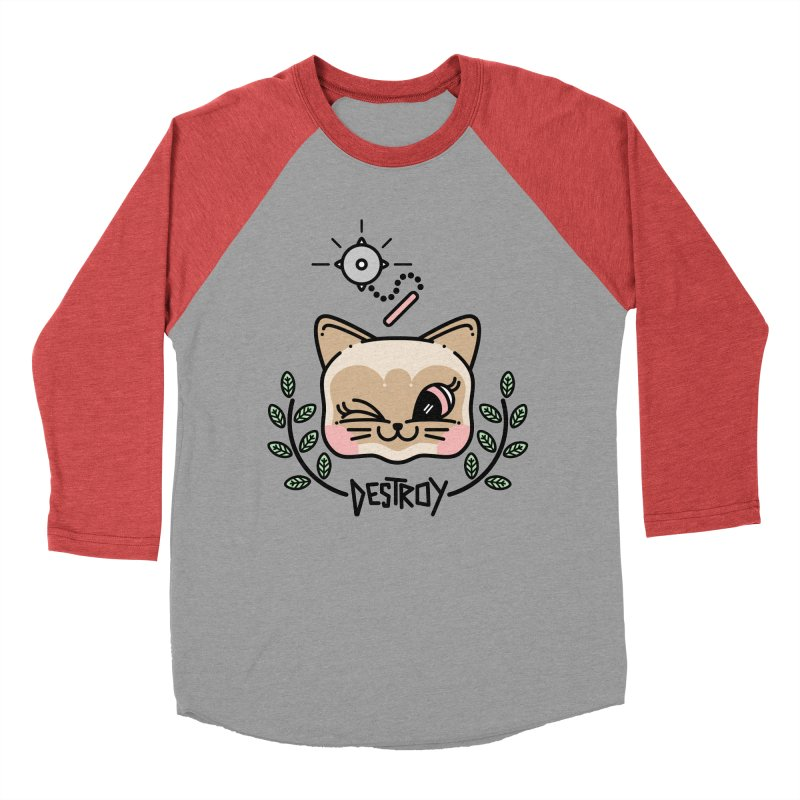 destroy kitty Men's Baseball Triblend Longsleeve T-Shirt by 3lw's Artist Shop