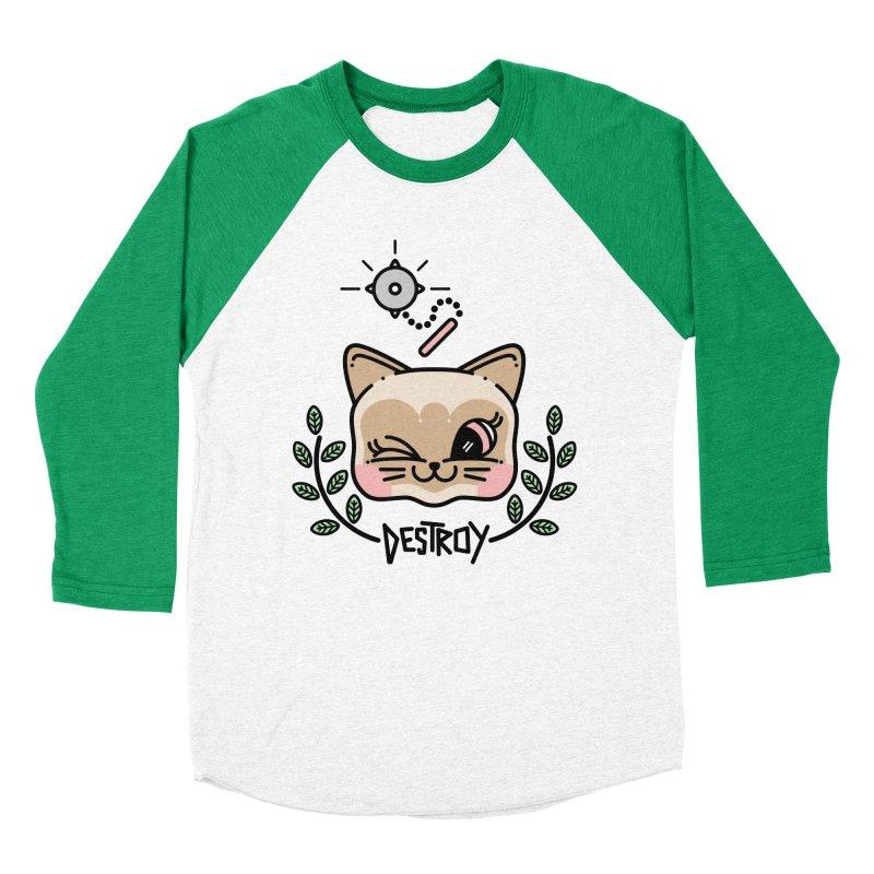 destroy kitty Men's Baseball Triblend Longsleeve T-Shirt by Cristóbal Urrea