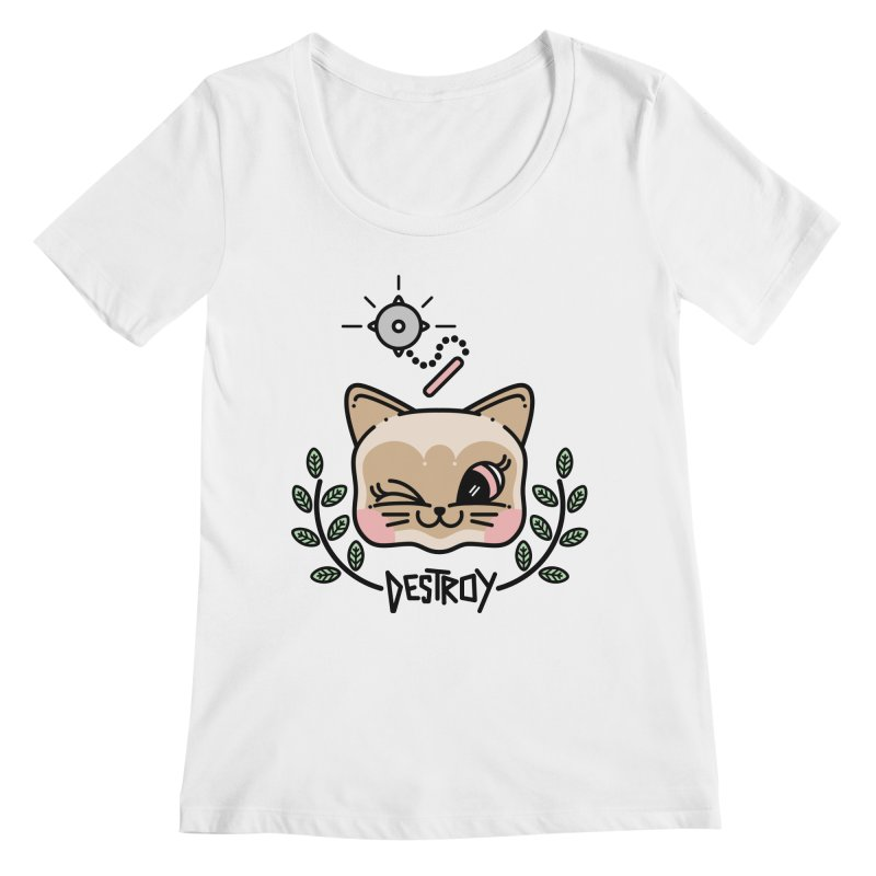 destroy kitty Women's Regular Scoop Neck by Cristóbal Urrea