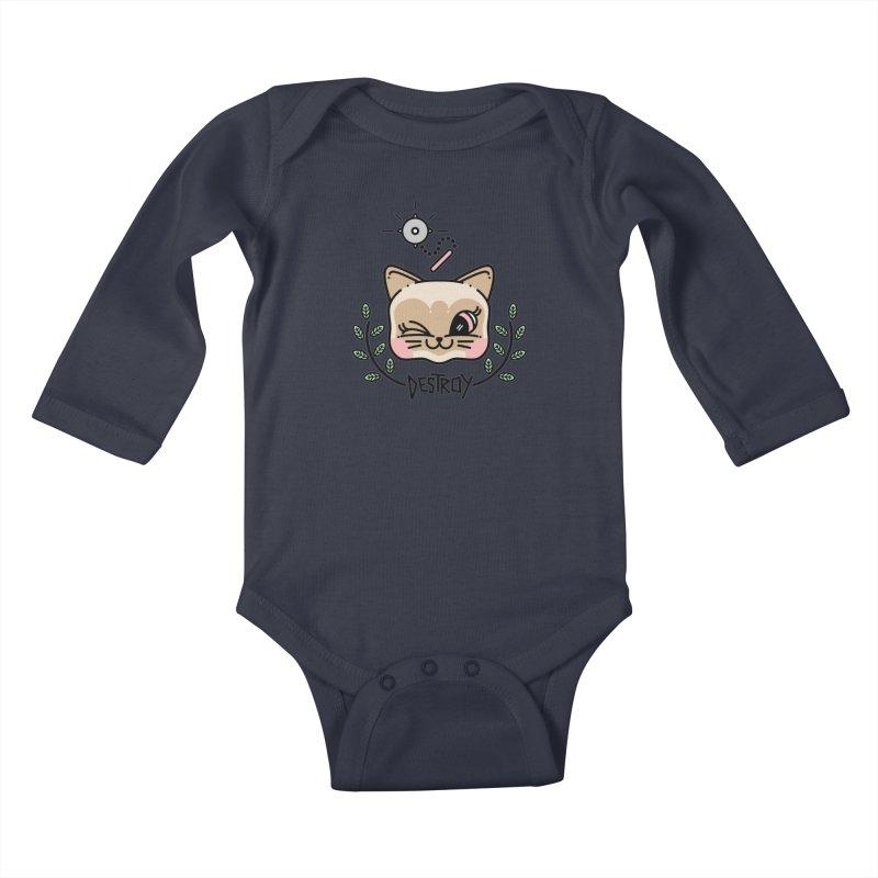 destroy kitty Kids Baby Longsleeve Bodysuit by Cristóbal Urrea