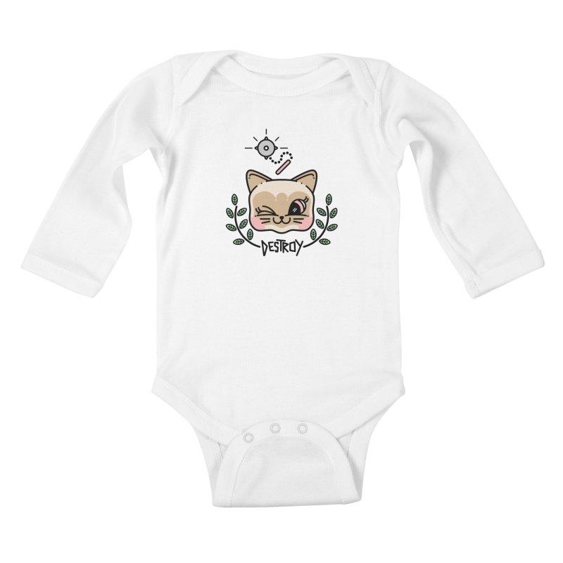 destroy kitty Kids Baby Longsleeve Bodysuit by 3lw's Artist Shop