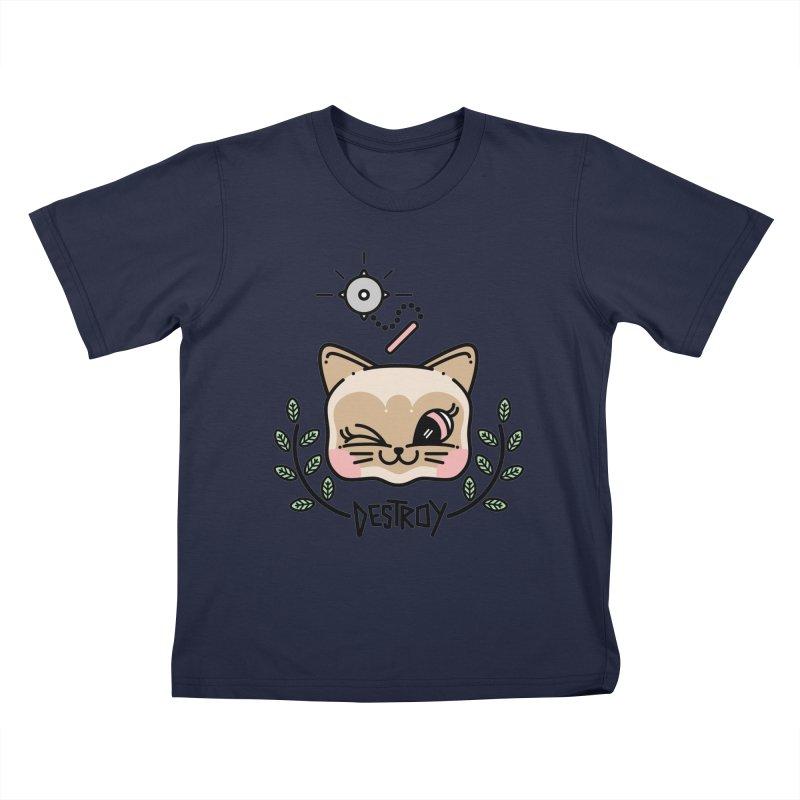 destroy kitty Kids T-Shirt by Cristóbal Urrea