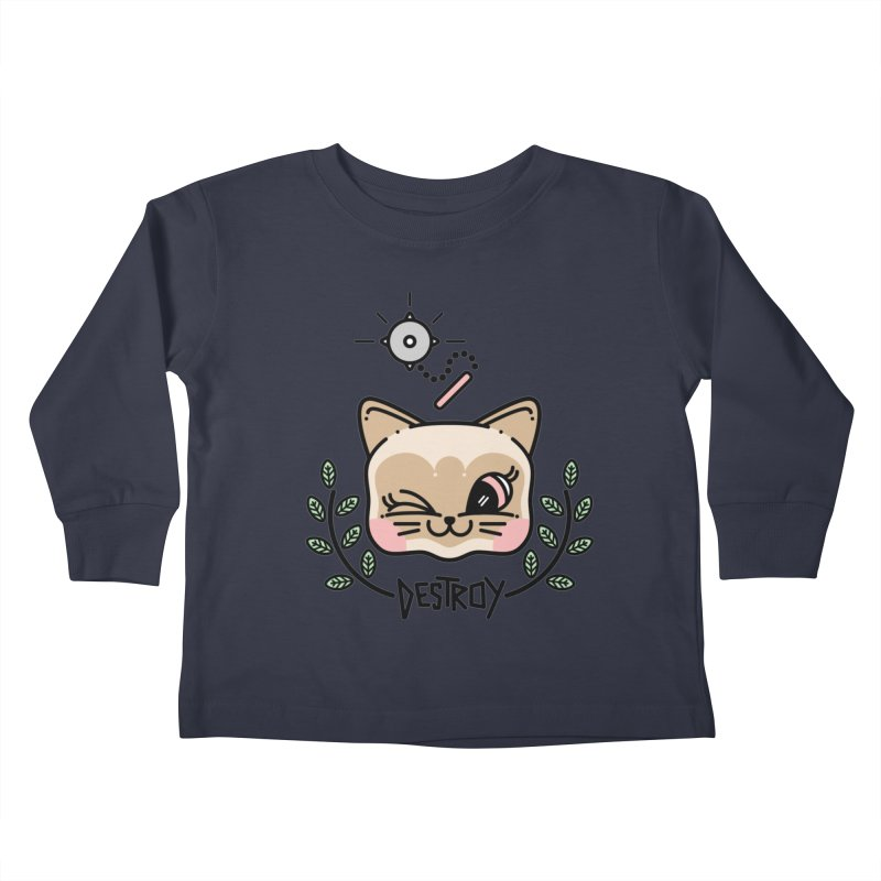 destroy kitty Kids Toddler Longsleeve T-Shirt by 3lw's Artist Shop