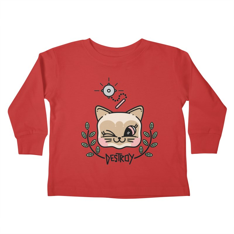 destroy kitty Kids Toddler Longsleeve T-Shirt by Cristóbal Urrea