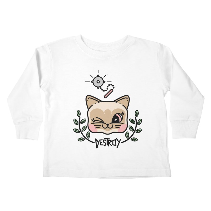 destroy kitty Kids Toddler Longsleeve T-Shirt by Cristóbal Urrea