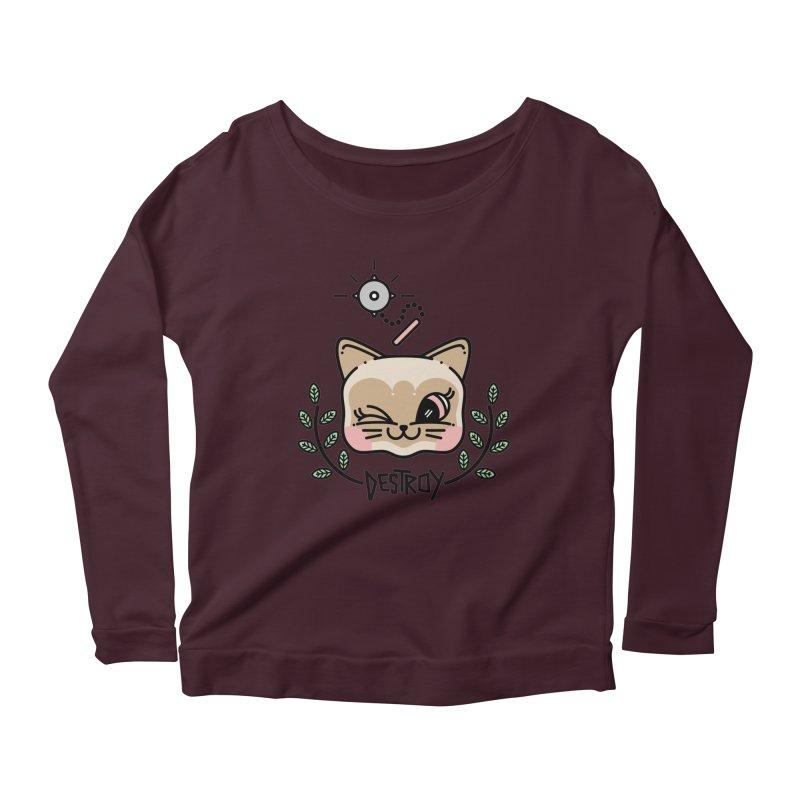 destroy kitty Women's Scoop Neck Longsleeve T-Shirt by Cristóbal Urrea