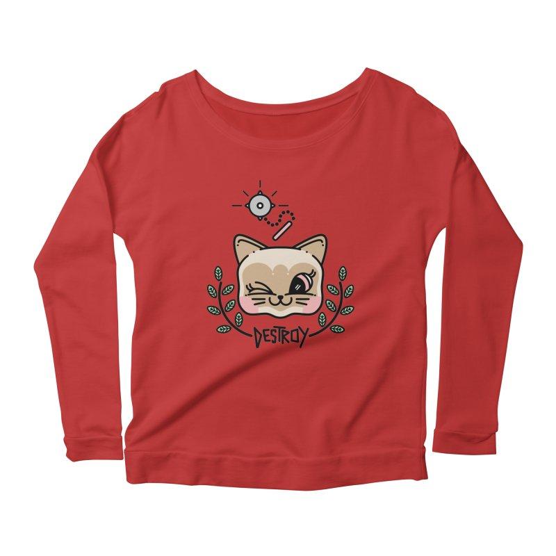 destroy kitty Women's Scoop Neck Longsleeve T-Shirt by 3lw's Artist Shop