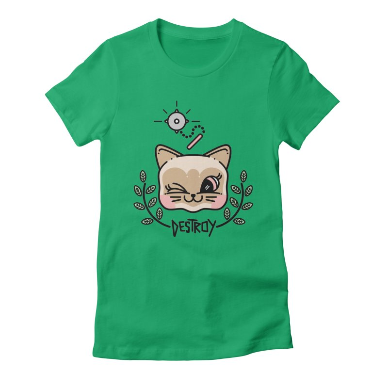 destroy kitty Women's Fitted T-Shirt by 3lw's Artist Shop