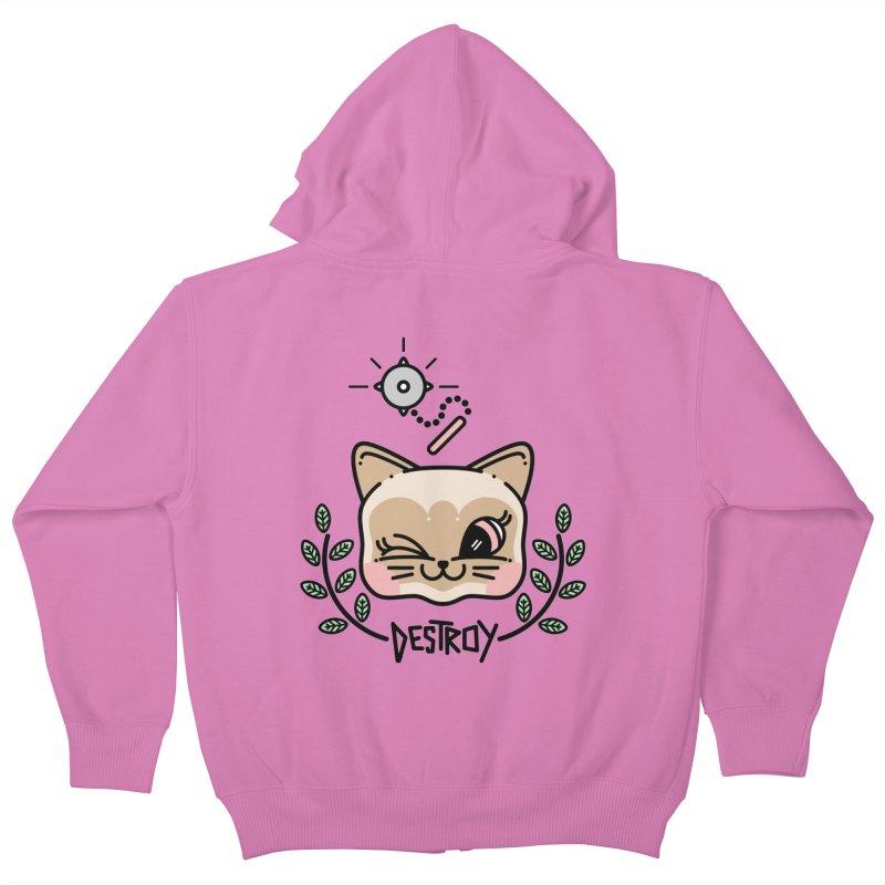 destroy kitty Kids Zip-Up Hoody by 3lw's Artist Shop