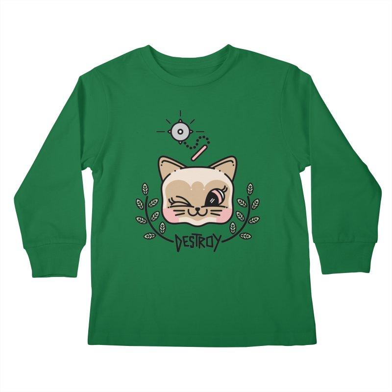 destroy kitty Kids Longsleeve T-Shirt by Cristóbal Urrea