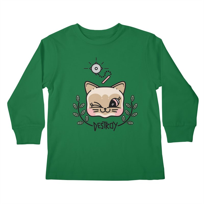 destroy kitty Kids Longsleeve T-Shirt by 3lw's Artist Shop