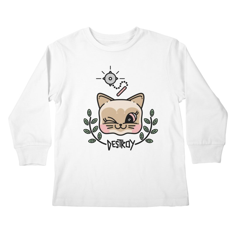 destroy kitty Kids Longsleeve T-Shirt by 3lw's Artist Shop