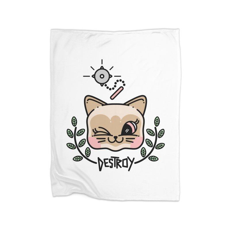 destroy kitty Home Fleece Blanket Blanket by Cristóbal Urrea