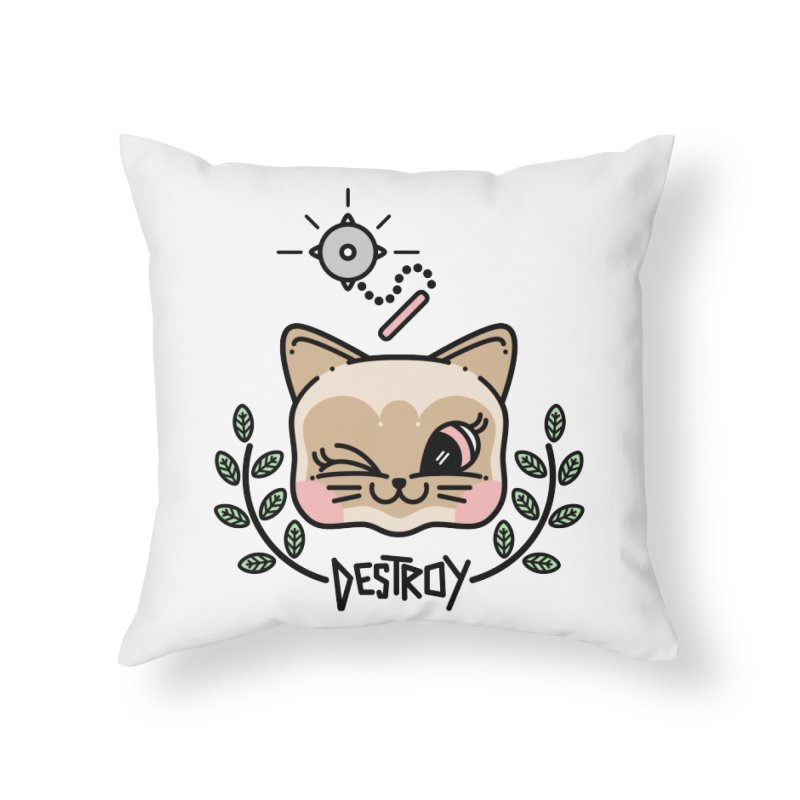 destroy kitty Home Throw Pillow by Cristóbal Urrea