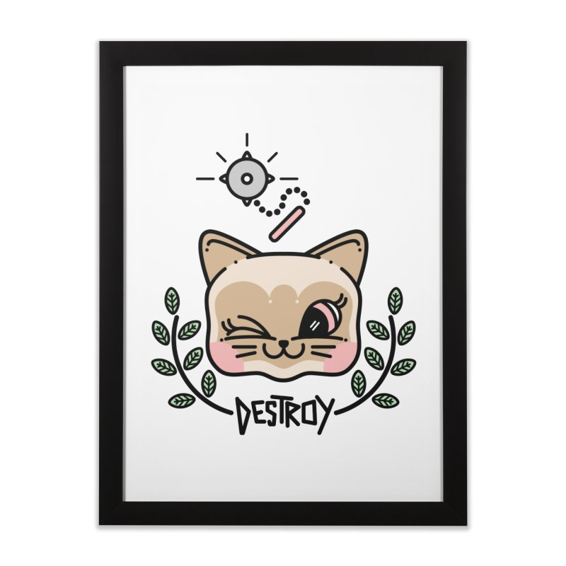 destroy kitty Home Framed Fine Art Print by 3lw's Artist Shop
