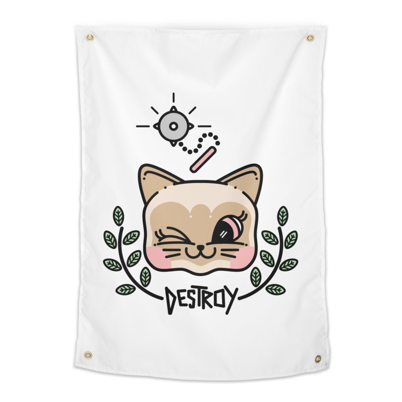 destroy kitty Home Tapestry by 3lw's Artist Shop