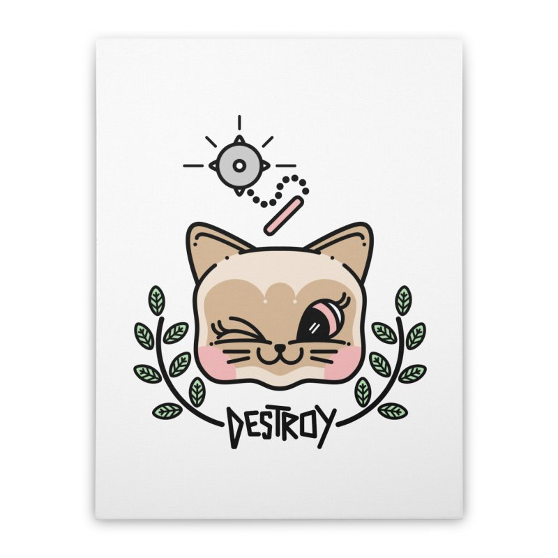 destroy kitty Home Stretched Canvas by Cristóbal Urrea