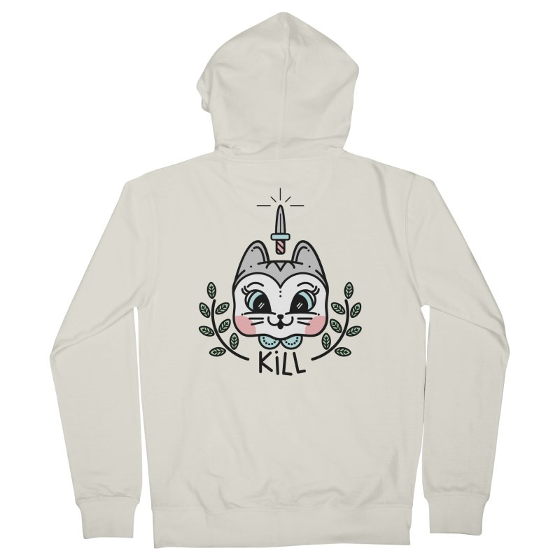 Kitty kill Men's French Terry Zip-Up Hoody by 3lw's Artist Shop
