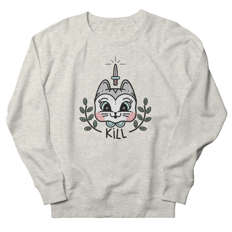 Kitty kill Men's French Terry Sweatshirt by Cristóbal Urrea