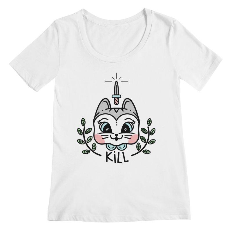 Kitty kill Women's Scoopneck by 3lw's Artist Shop