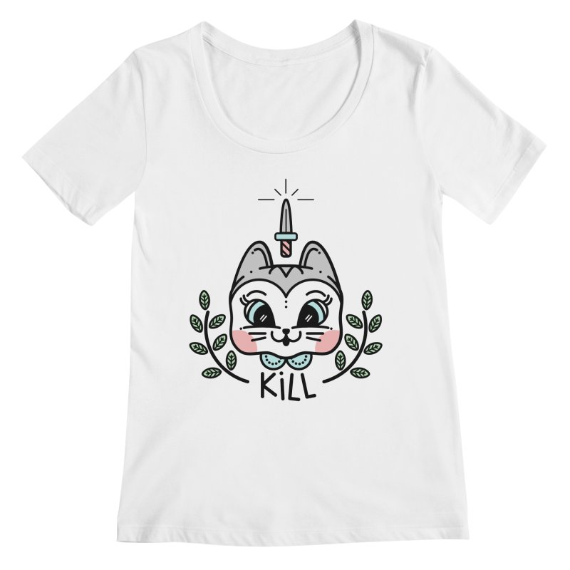 Kitty kill Women's Regular Scoop Neck by 3lw's Artist Shop
