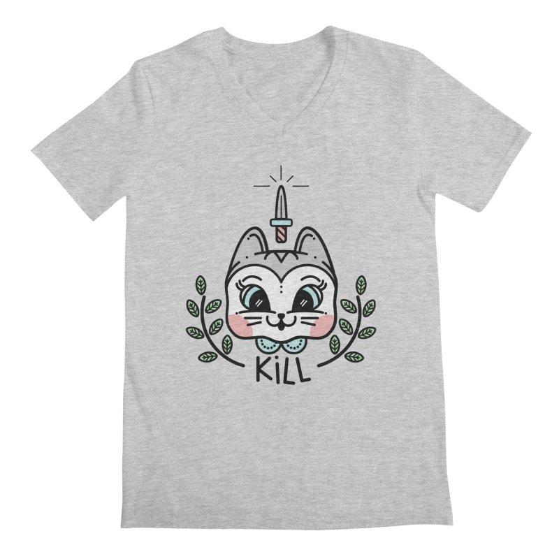 Kitty kill Men's Regular V-Neck by Cristóbal Urrea