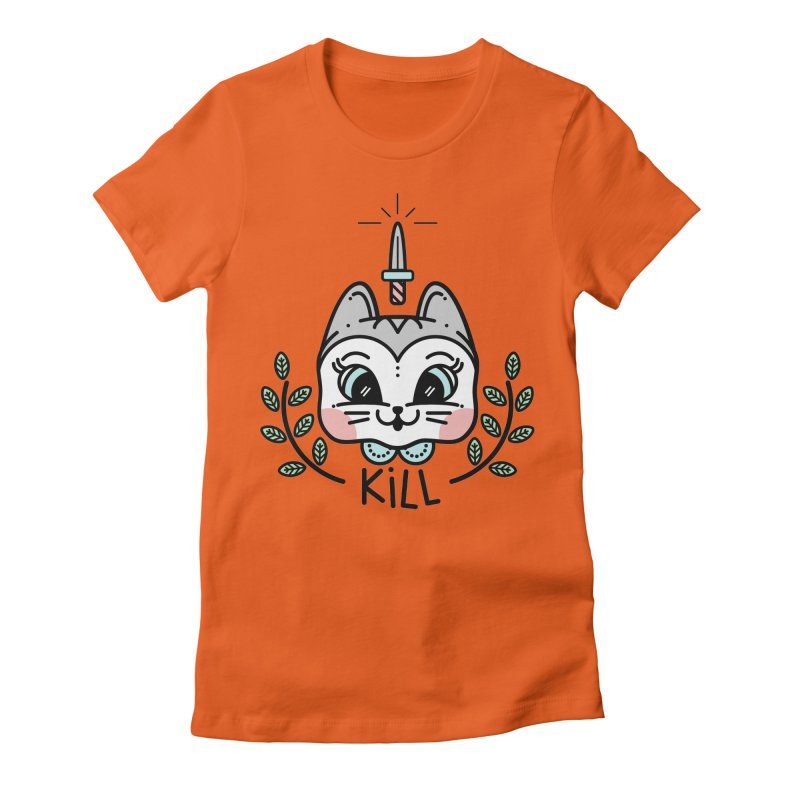 Kitty kill Women's Fitted T-Shirt by 3lw's Artist Shop