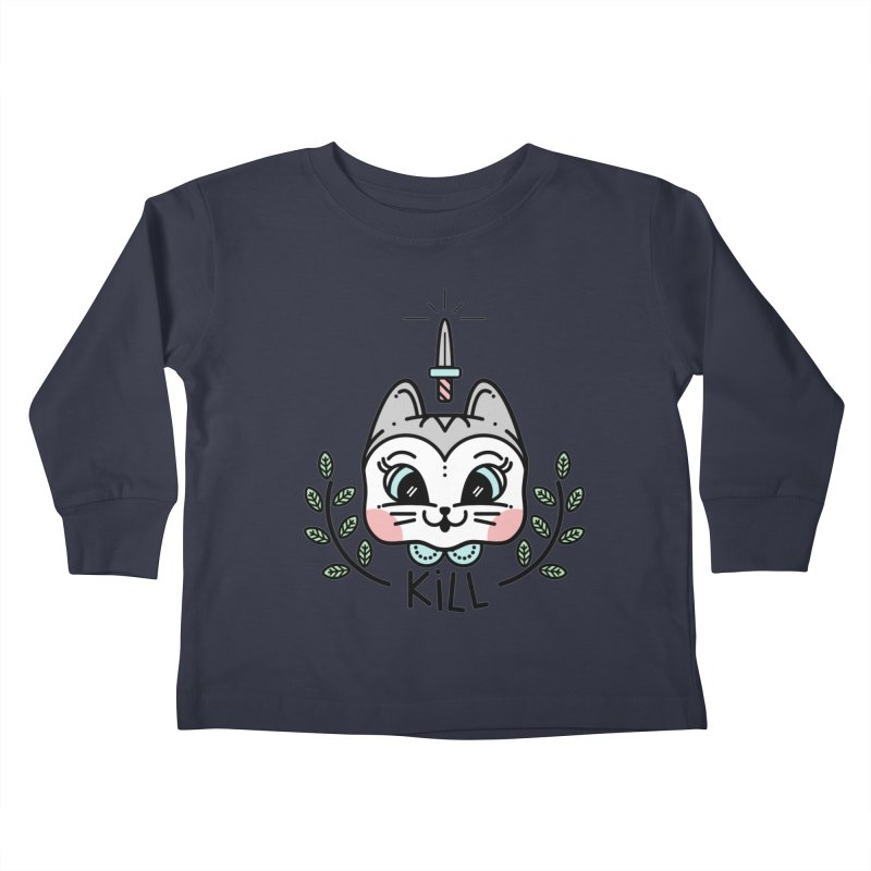 Kitty kill Kids Toddler Longsleeve T-Shirt by Cristóbal Urrea