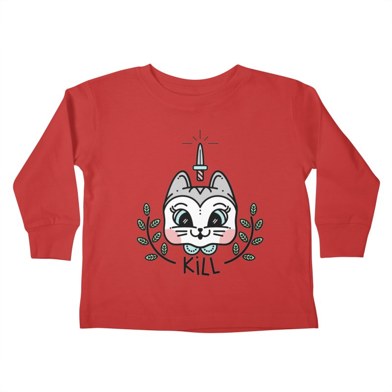 Kitty kill Kids Toddler Longsleeve T-Shirt by Cristóbal Urrea