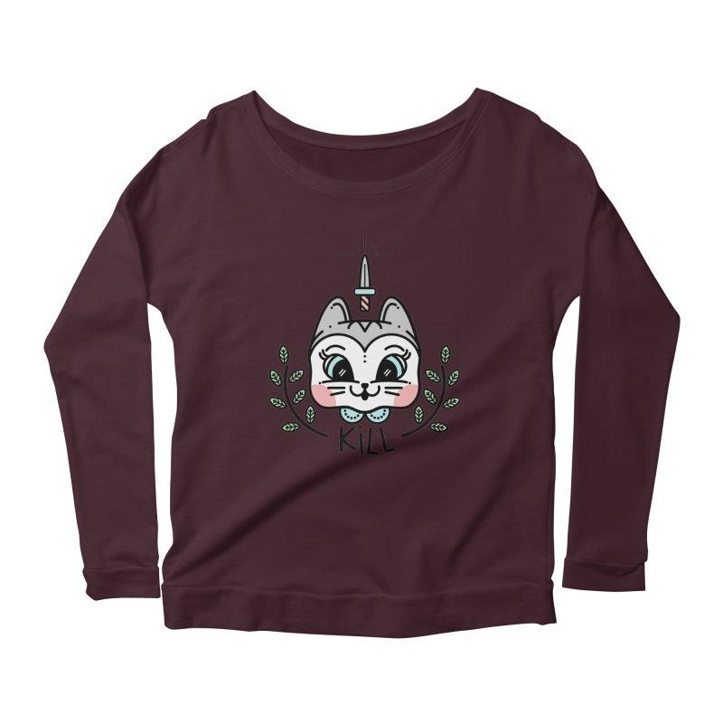 Kitty kill Women's Scoop Neck Longsleeve T-Shirt by Cristóbal Urrea