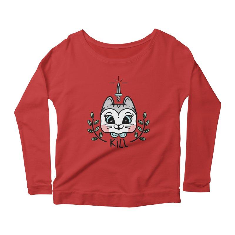 Kitty kill Women's Scoop Neck Longsleeve T-Shirt by 3lw's Artist Shop