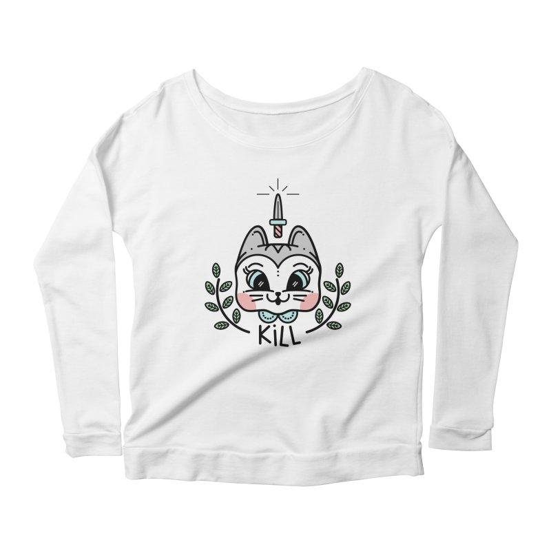 Kitty kill Women's Longsleeve Scoopneck  by 3lw's Artist Shop