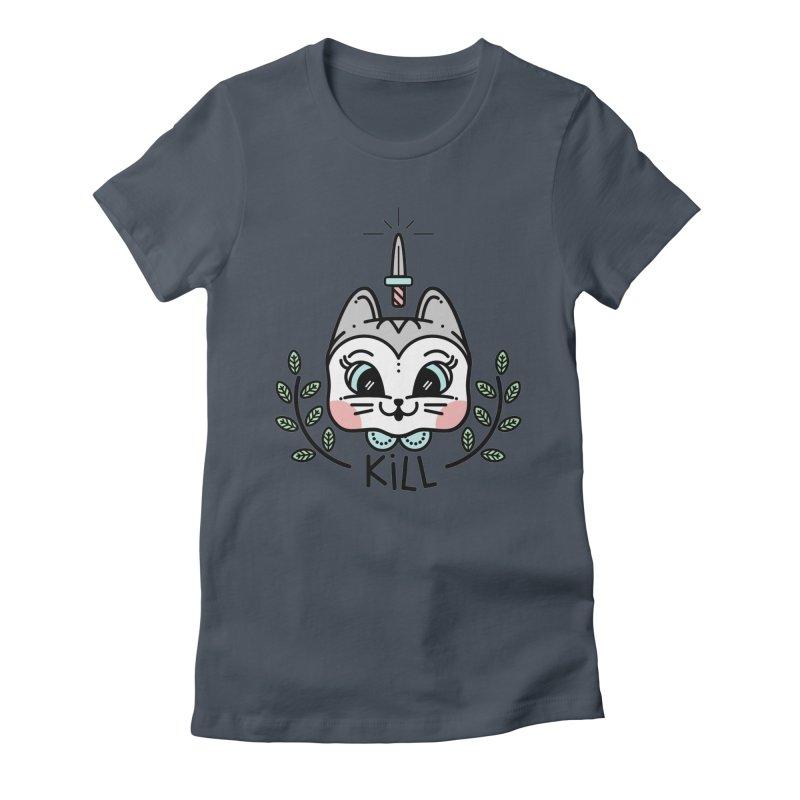 Kitty kill Women's Fitted T-Shirt by Cristóbal Urrea