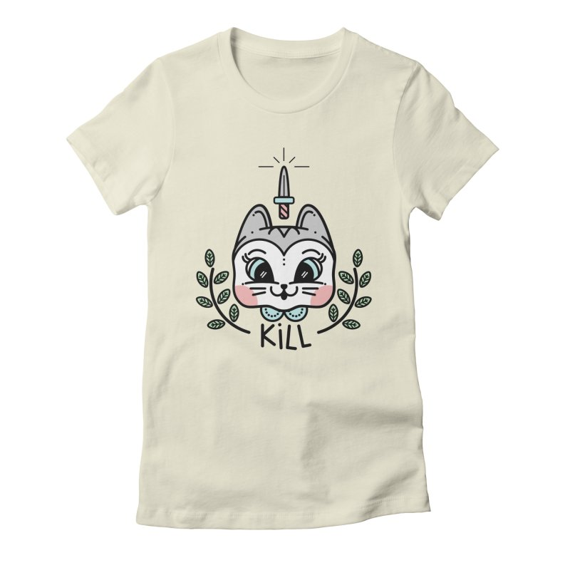 Kitty kill Women's Fitted T-Shirt by Cristóbal Urrea