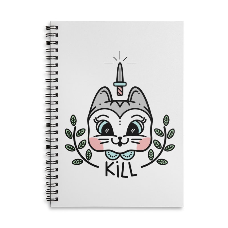 Kitty kill Accessories Lined Spiral Notebook by Cristóbal Urrea