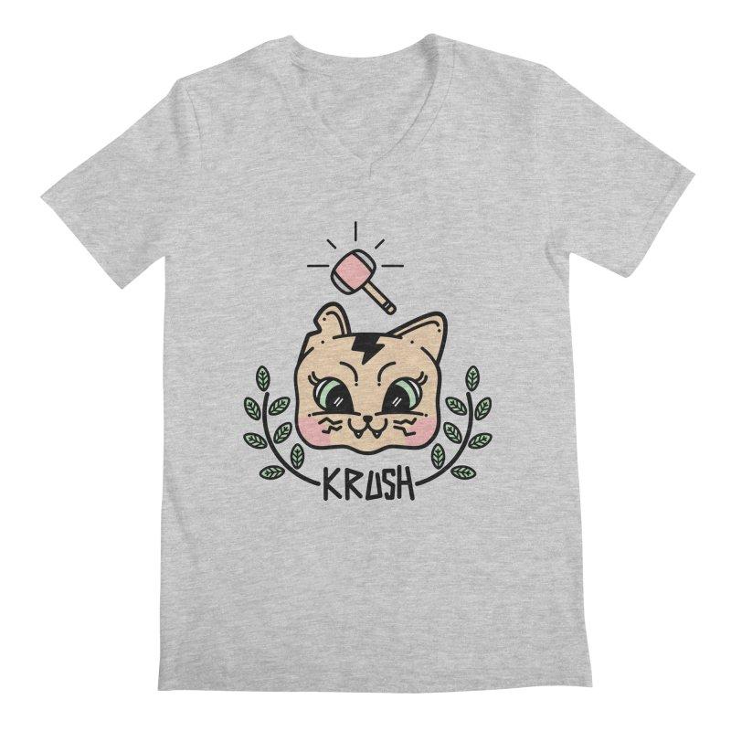 Kitty krush Men's Regular V-Neck by Cristóbal Urrea