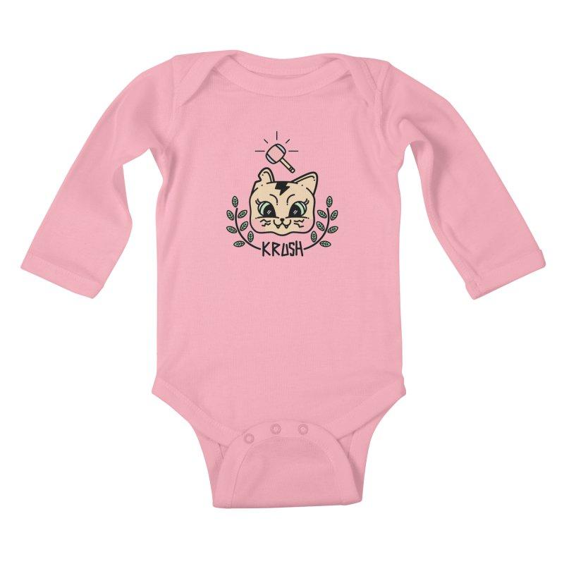 Kitty krush Kids Baby Longsleeve Bodysuit by 3lw's Artist Shop
