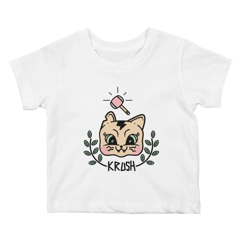 Kitty krush Kids Baby T-Shirt by Cristóbal Urrea